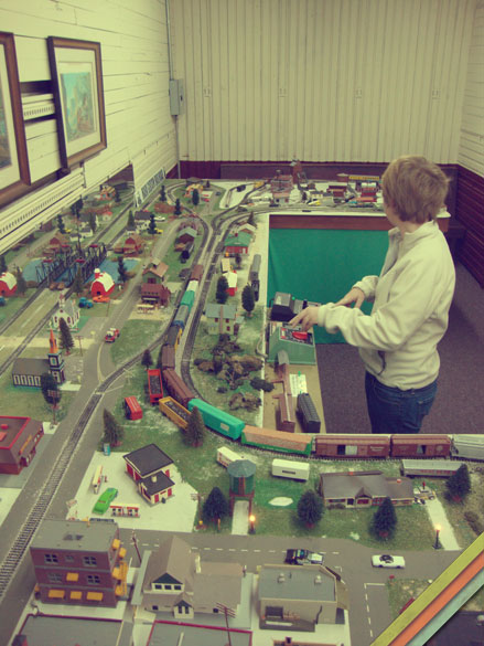Alyson Playing with the Model Trains